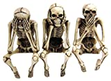 "See Hear Speak No Evil Skeleton Skull Computer Monitor Toppers and Shelf Sitters 2.75""Tall"
