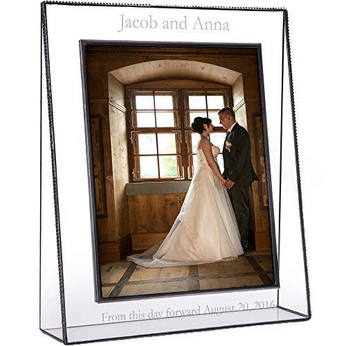 J Devlin Pic 319 EP 548 Series Personalized Wedding, Anniversary, Engagement Picture Frame - Clear Engraved Glass - Available in Multiple Photo Sizes (8x10 ()