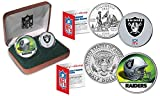 OAKLAND RAIDERS Officially Licensed NFL 2-COIN U.S. SET w/ NFL Football Feel Box
