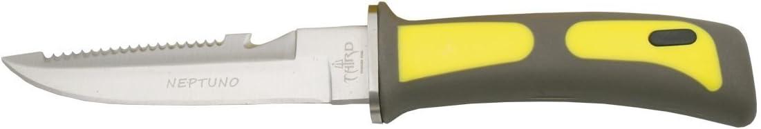 THIRD Cuchillo de Submarinismo 15481Y con Hoja de Acero de 11,4 cm, Mango de ABS Amarillo. Incluye Funda de ABS Amarillo y Gomas para su sujeción.