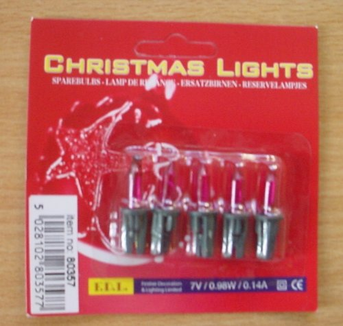 S24 Pack of 5 Push In Spare Fairy Bulbs In Purple 7v 0.98w 0.14a