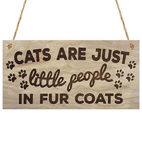 Meijiafei Cats are Just Little People in Fur Coats Plaque Wooden Hanging Sign Cat
