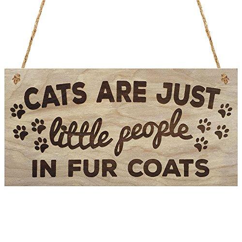Meijiafei Cats are Just Little People in Fur Coats Plaque Wooden Hanging Sign - Fur Cat Coats