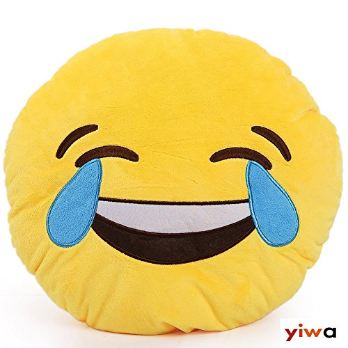 """12.8""""car Home Office Accessory Emoji Smiley Emoticon Round Cushion Pillow Stuffed Plush Soft Toy Yellow (Happy Tears)"""
