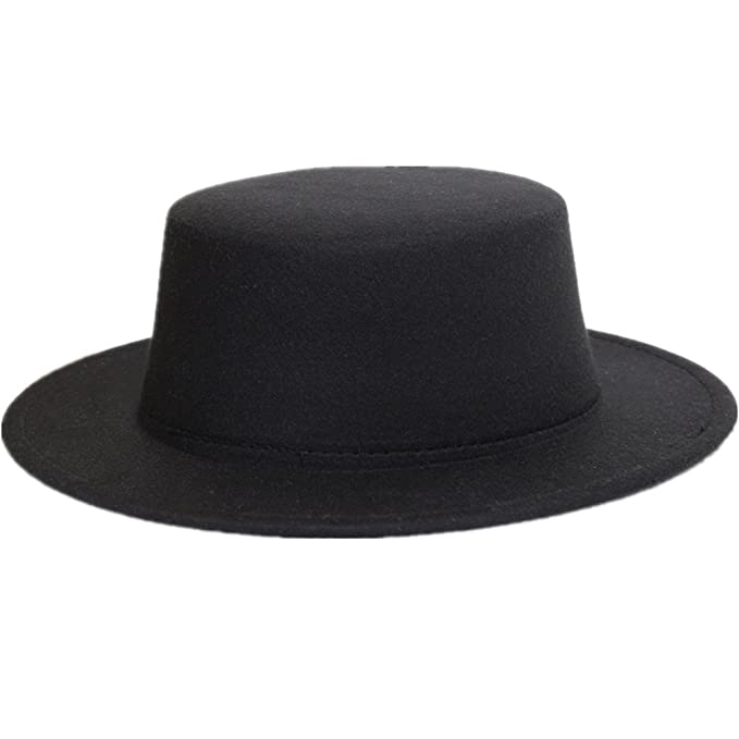Sunsnow Women s Wide Brim Fedora Wool Flat Top Hat Church Hats (One Size 131dba714ee