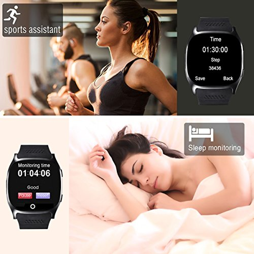 Smart Watch,Hizek Smart Wrist Watch with Camera Pedometer Sport Tracker 1.54 inch Touch Screen Support TF SIM Card Slot for Android and iOS iPhone Samsung LG (Black) by Hizek (Image #4)