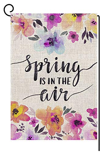 (BLKWHT Spring is in The Air Garden Flag Vertical Double Sided 12 x 18 Inch Flower Yard Decor )