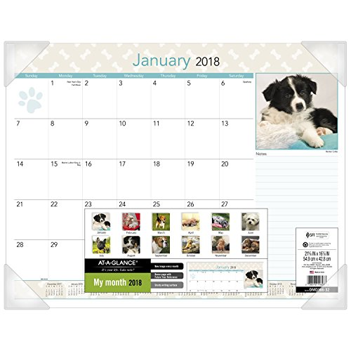 "AT-A-GLANCE Monthly Desk Pad Calendar, January 2018 - December 2018, 22"" x 17"", Puppies (DMD16632)"