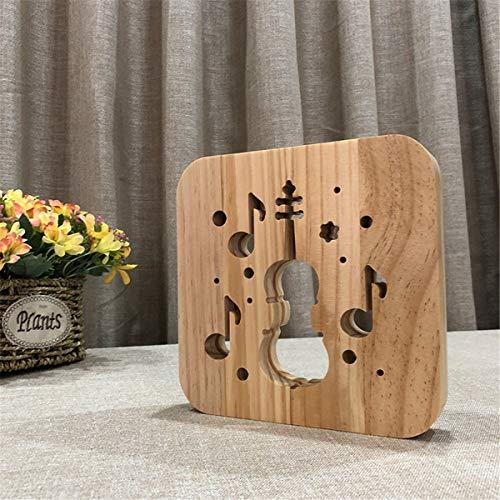 Lovely Nursery USB Powered Violin Wooden 3D Night Light Carving Pattern Table Desk LED Lamp Beside Nightlight Home Decoration Art Sculpture Lights for Children by YiLight (Image #2)