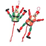 2 Pack Cute Funny Wooden Toy Ornament Hanging Decoration Marionette Joint Activity Pull String Puppet