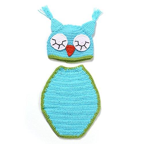Sunward Unisex Newborn Baby Boy Girl Crochet Knit Outfits Costume Set Photo Prop (blue Owl) -