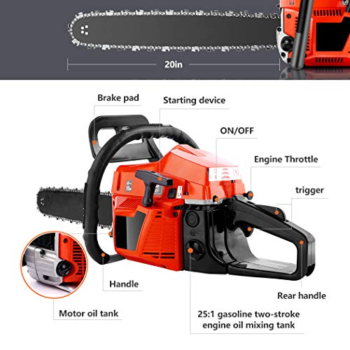 Himimi Cordless Chainsaw, Pro 20-Inch 58cc 2-Cycle Gas Powered Chain Saw, Handheld Petrol Gasoline Saw for Farm, Garden and Ranch