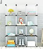 KOUSI 4-tier Storage Cube Closet Organizer, Shelf 12-Cube Cabinet Bookcase with doors, Transparent