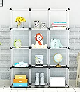4-tier Storage Cube Closet Organizer by KOUSI, Shelf 12-Cube Cabinet Bookcase with doors Transparency