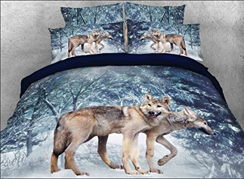 Ammybeddings Snow Wolf 3D Print Tree Bedding Sets Cotton Duvet Cover Sets King Size,Luxury Soft Wolf Bedding,1 Bed Sheet,1 Quilt/Comforter Cover,2 Pillow Shams(King, wolf 2)
