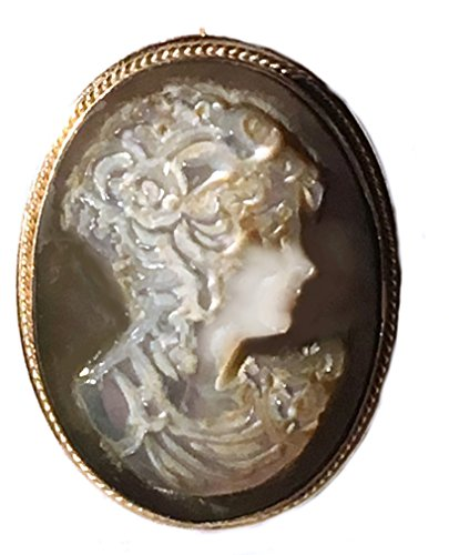 Brooch Cameo 18k (Cameo Brooch, Pendant Reflection of Youth, Master Carved, Sterling Silver 18k Gold Overlay, Italian)