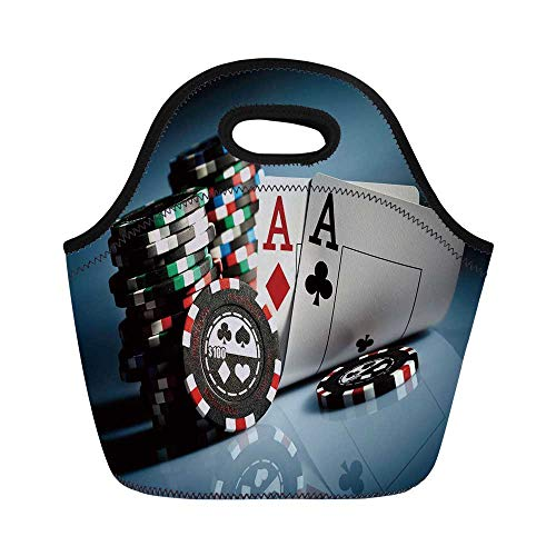 Poker Tournament Decorations Durable Lunch Bag,Gambling Chips and Pair Cards Aces Casino Wager Games Hazard for School Office,11.0
