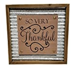 Rustic Inspirational Wall Decor Wood and Corrugated Metal, 11.75″ (So Very Thankful)