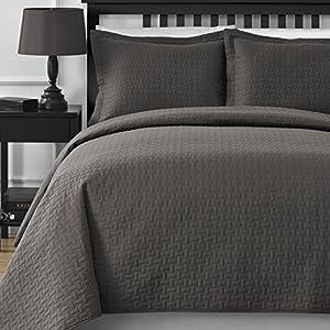 Extra Lightweight Comfy Bedding Frame 3-piece Bedspread Coverlet Set (King/Cal King, Grey)