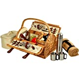 Picnic at Ascot Sussex Willow Picnic Basket with Service for 2, with Coffee Set and Blanket - London Plaid