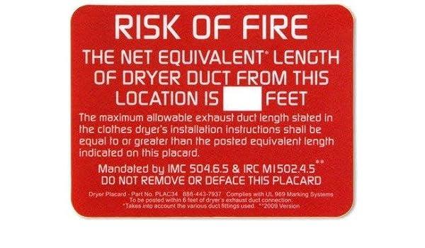Amazon com: Dryer Placard Sticker Tag 3