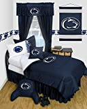 Penn State Nittany Lions 6 Piece TWIN Comforter Set - Locker Room Series - Entire Set includes: (1 Twin Comforter, 1 Flat Sheet, 1 Fitted Sheet, 1 Pillow Case, 1 Sham, 1 Bedskirt) SAVE BIG ON BUNDLING!