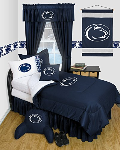 Penn State Nittany Lions 6 Piece TWIN Comforter Set - Locker Room Series - Entire Set includes: (1 Twin Comforter, 1 Flat Sheet, 1 Fitted Sheet, 1 Pillow Case, 1 Sham, 1 Bedskirt) SAVE BIG ON BUNDLING! by Sports Coverage