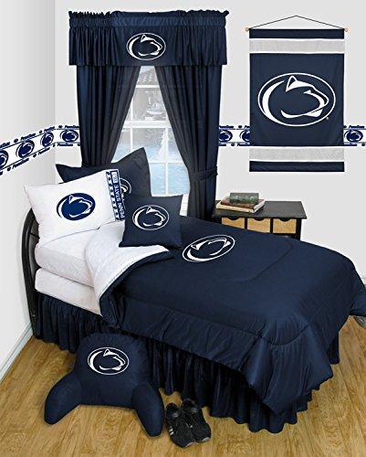 Penn State Nittany Lions 6 Piece TWIN Comforter Set - Locker Room Series - Entire Set includes: (1 Twin Comforter, 1 Flat Sheet, 1 Fitted Sheet, 1 Pillow Case, 1 Sham, 1 Bedskirt) SAVE BIG ON BUNDLING!