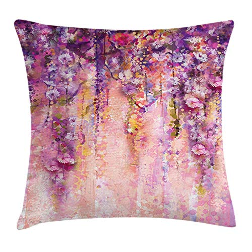 Rdkekxoel Flower Throw Pillow Cushion Cover, Watercolor Painting Effect Wisteria Tree Blossoms Soft Scenic Spring Display, Decorative Square Accent Pillow Case, 40 X 40 Inches, Pink Violet Purple
