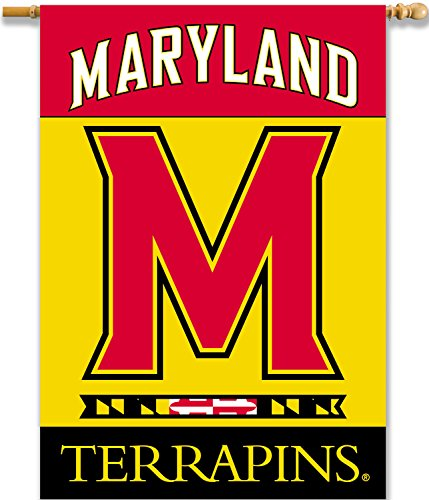 NCAA Maryland Terrapins 2-Sided 28 x 40-Inch Banner with Pole Sleeve, One Size, Red (Ncaa Bsi Products Banner)