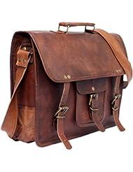 QualityArt Genuine Leather Large Briefcase Leather Messenger Bag Business Bag Travel Bag