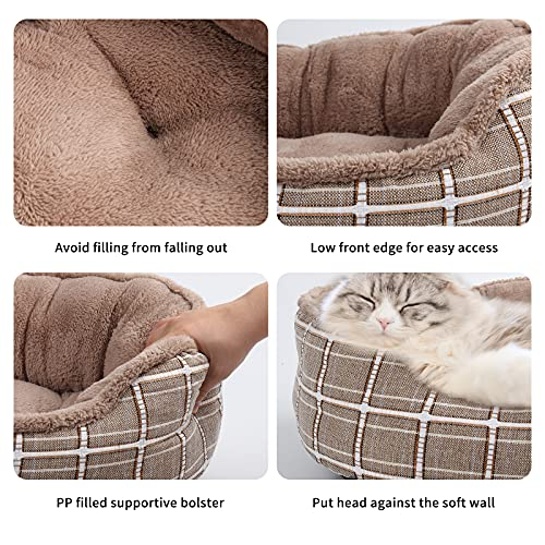 Dog Bed for Medium Dogs, Warming Washable Rectangle Pet Bed for Cat, 24 Inches Rectangle Cuddle Puppy Bed with Anti-Slip Bottom&Removable Cover