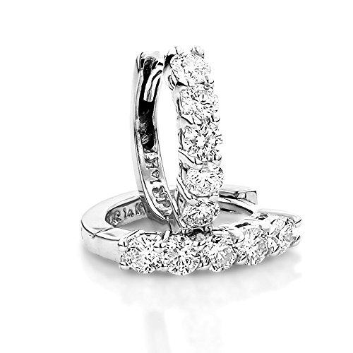 (Luxurman Round Diamond Huggie Earrings Hoops 14k Gold (White Gold))