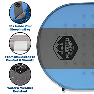 Rugged Camp Self Inflating Sleeping Pad - Sleep Comfortably in The Outdoors - Camping Gear and Accessories for Hiking, Backpacking, Travel - Lightweight and Compact Camping Mat (Blue)