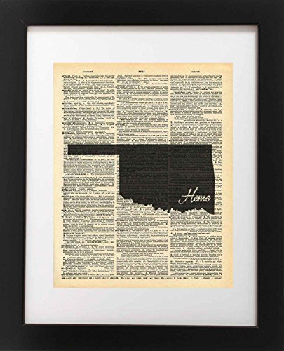 Oklahoma State Vintage Map Vintage Dictionary Print 8x10 inch Home Vintage Art Abstract Prints Wall Art for Home Decor Wall Decorations For Living Room Bedroom Office Ready-to-Frame Home ()