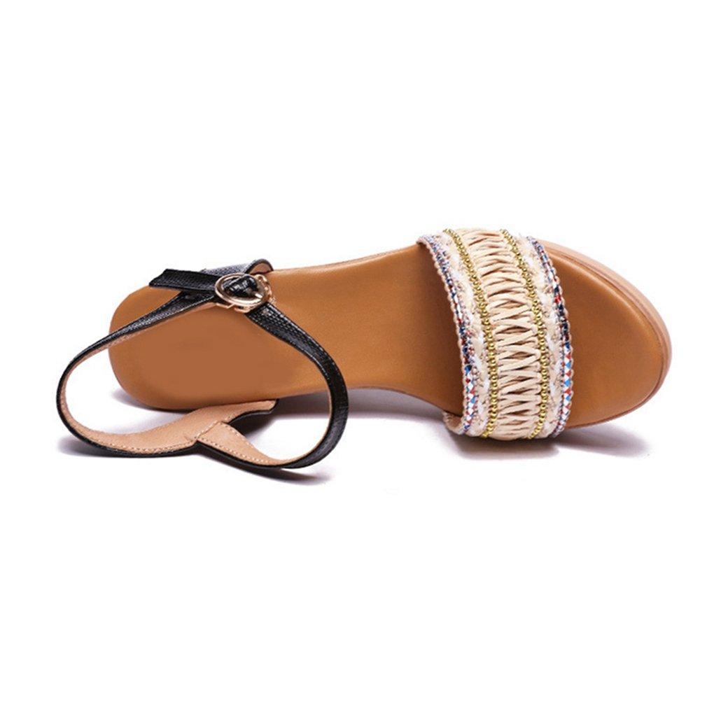 GIY Womens Bohemian Platform Sandals Peep Toe Anti-Slip Summer Beach Wood Dress Wedge Sandals Shoes