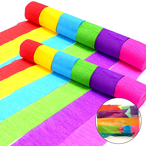 Coceca 36 Rolls Crepe Paper Streamers, 6 Colors, for Birthday Party, Class Party,Family Gathering ,Graduation Ceremony Decorations ()