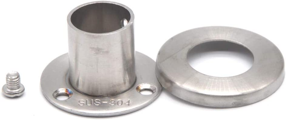 304 Stainless Steel Closet Rod Support Flange Holder for Closet Pole Sockets Suitable for Closet Pipe Up to 19mm Out Diameter Screws Included