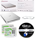 Pioneer 6x BDR-XS06 Slim Slot Portable External Blu-ray BDXL Burner, Roxio Toast Lite Software and USB Cable Bundle with 100pk DVD-R RiDATA White Inkjet Printable
