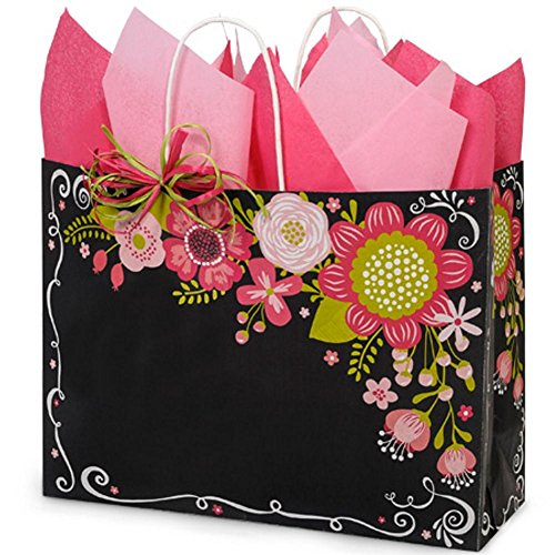 Chalkboard Flowers Paper Shopping Bags - Vogue Size - 16 x 6 x 12in. - 150 Pack by NW