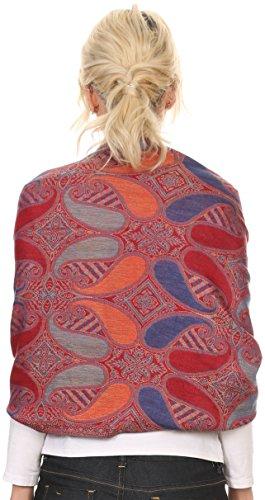 Sakkas 16124 - Raeste Long Wide Tassel Multi Colored Paisley Pashmina Shawl / Wrap - Royal Blue - OS