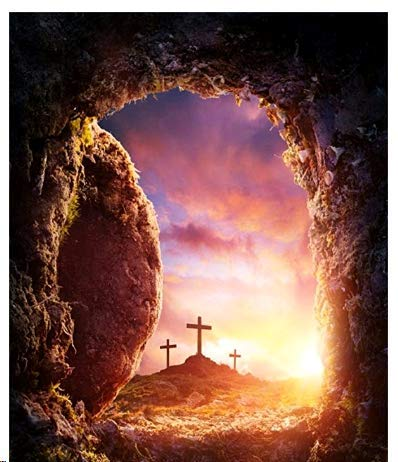 Baocicco 5x7ft Cross Rock Cave Background Cotton Polyester Photography Background Rosy Clouds View Jesus Christ Crucifixion Resurrection Empty Tomb Religious Belief Christian Calendar for $<!--$29.99-->
