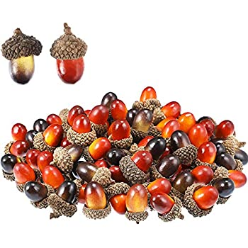 Patelai 100 Pieces Acorns Decor Craft Artificial Acorns Fake Fruit Props Acorns Decoration for DIY Handcraft Party