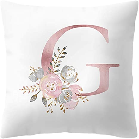 "18/"" Flower Letter Pillow Cover Case Cushion Sofa Throw Home Car Decor Pillowcase"