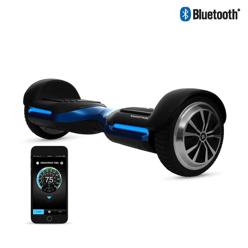 App-Enabled SWAGTRON T580 Bluetooth Hoverboard w/ Speaker Smart Self-Balancing Wheel – Available on iPhone & Android (Blue)