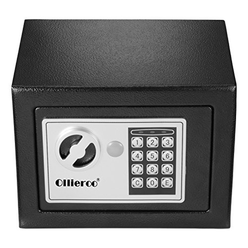 Ollieroo 0.3 CF Digital Electronic Keypad Lock Small Safe Box Home Security Box for Office Hotel Gun Jewelry Black