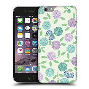 Case Fun Purple & Green Roses Snap-on Hard Back Case Cover for Apple iPhone 6 (4.7 inch)