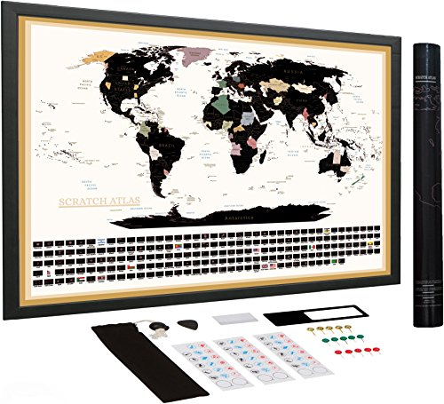 Do You Know Someone Who Loves Maps? Maybe You? This Great Scratch Off World Map Includes the Country Flags at the Bottom!