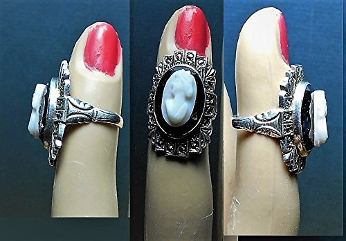 - 1 1920s Sterling Uncas Marcasite Hematite Shell Cameo RING, with Diadem Crown in her Hair,Marcasite Looks like a Crown too,