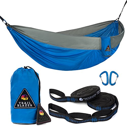 Trailblazer Outdoor Premium Double camping hammocks - parachute nylon, portable and lightweight with tree friendly straps and carabiners included - Quality gear for your outdoor adventures. by Trailblazer Outdoor Co.